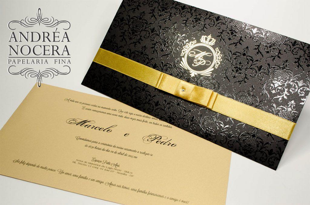 Convite classico preto e dourado