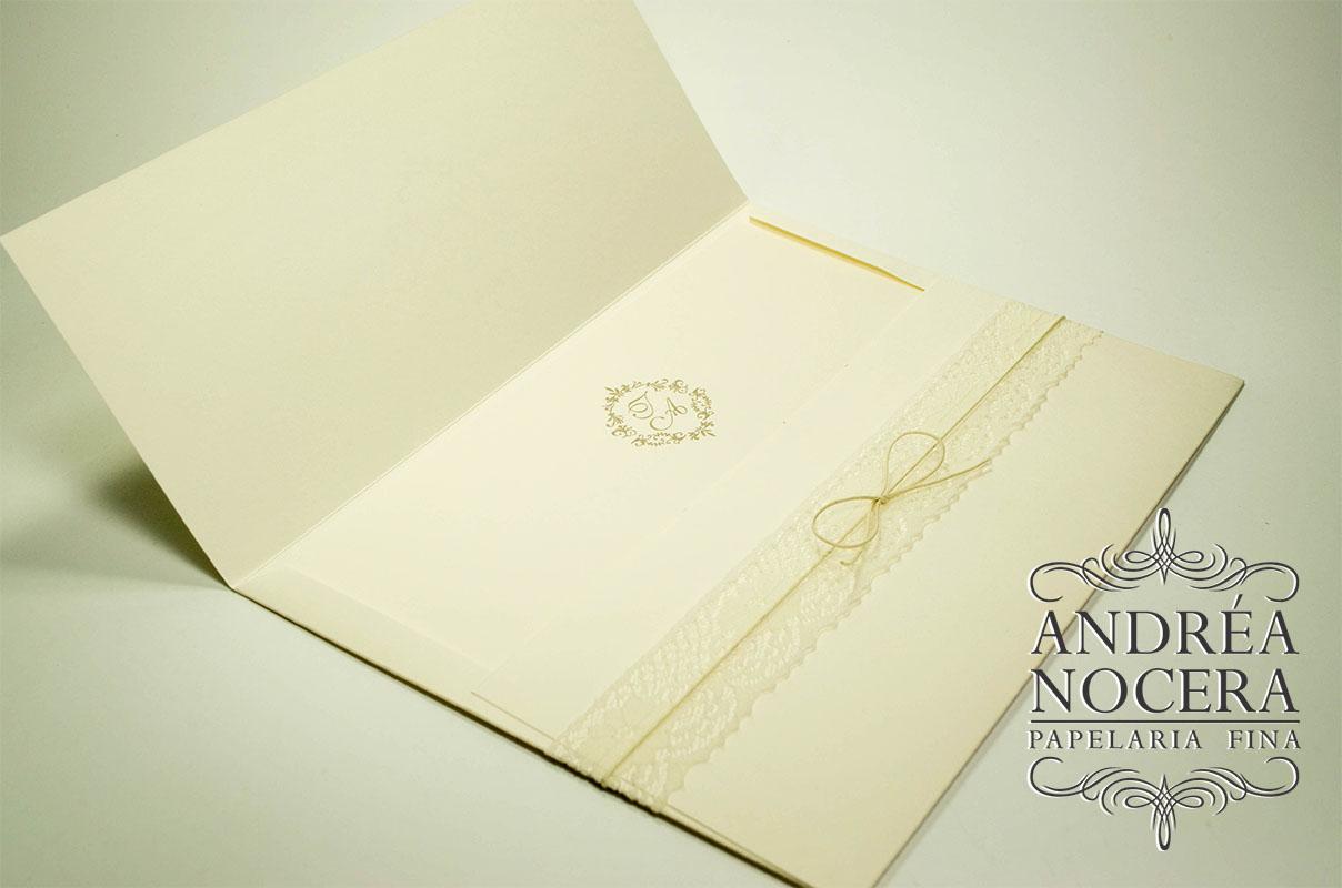 Convite de Casamento com Renda